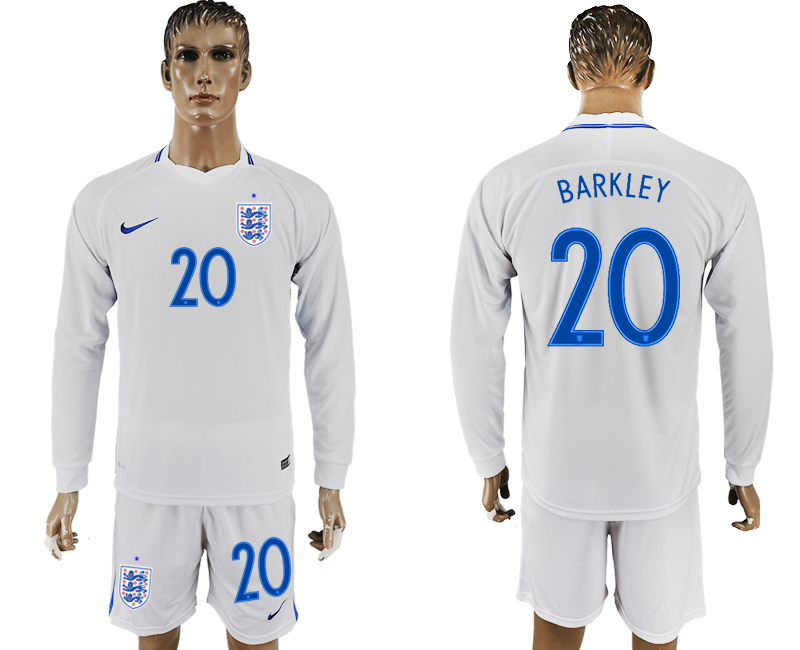 Men 2018 World Cup National England home Long sleeve 20 white soccer jersey