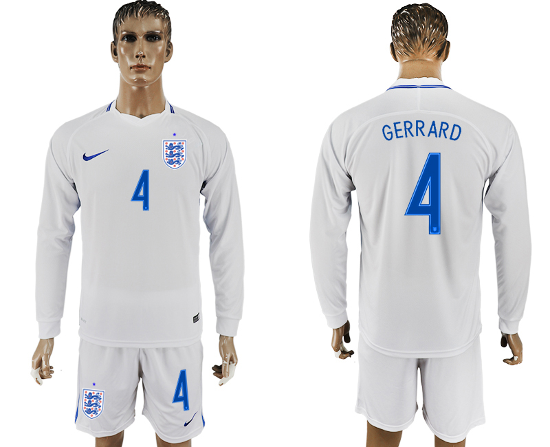 Men 2018 World Cup National England home Long sleeve 4 white soccer jersey