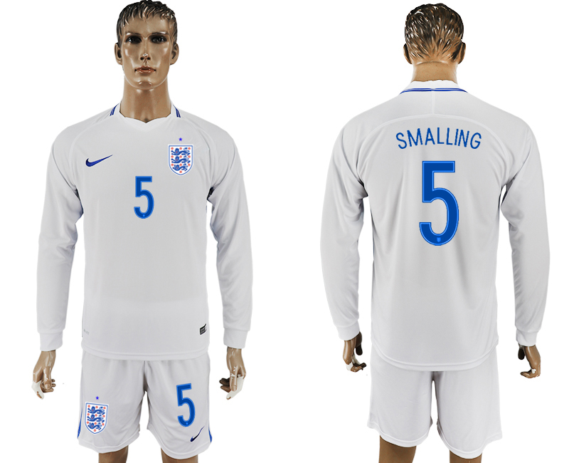 Men 2018 World Cup National England home Long sleeve 5 white soccer jersey
