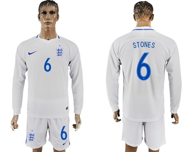 Men 2018 World Cup National England home Long sleeve 6 white soccer jersey