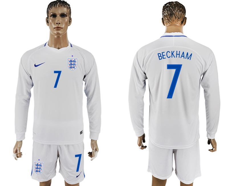 Men 2018 World Cup National England home Long sleeve 7 white soccer jersey
