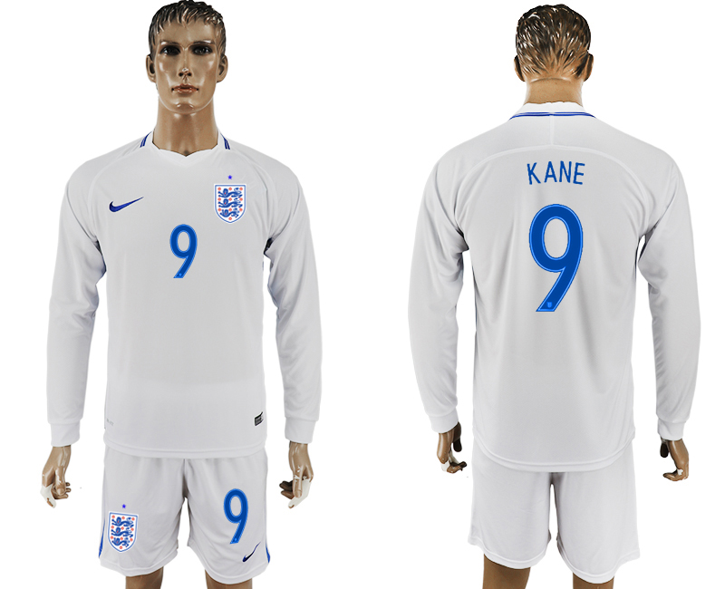 Men 2018 World Cup National England home Long sleeve 9 white soccer jersey