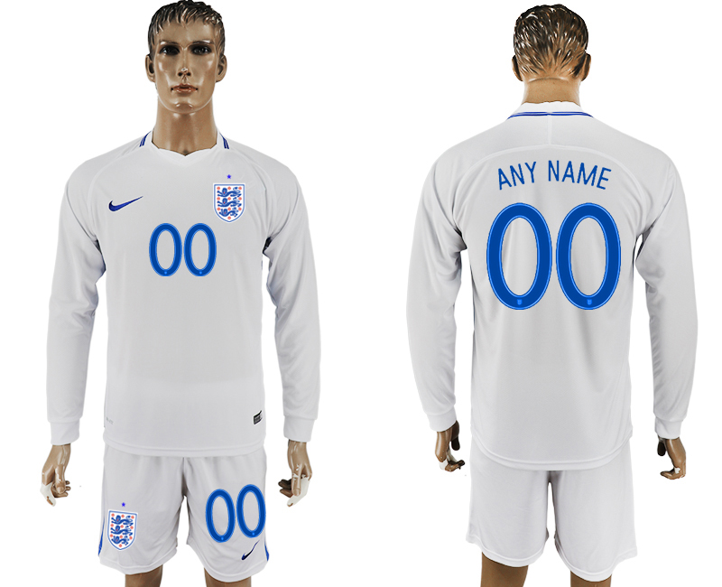Men 2018 World Cup National England home Long sleeve customized white soccer jersey