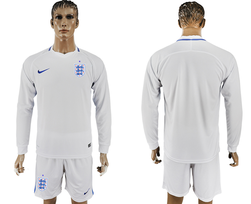 Men 2018 World Cup National England home Long sleeve white soccer jersey