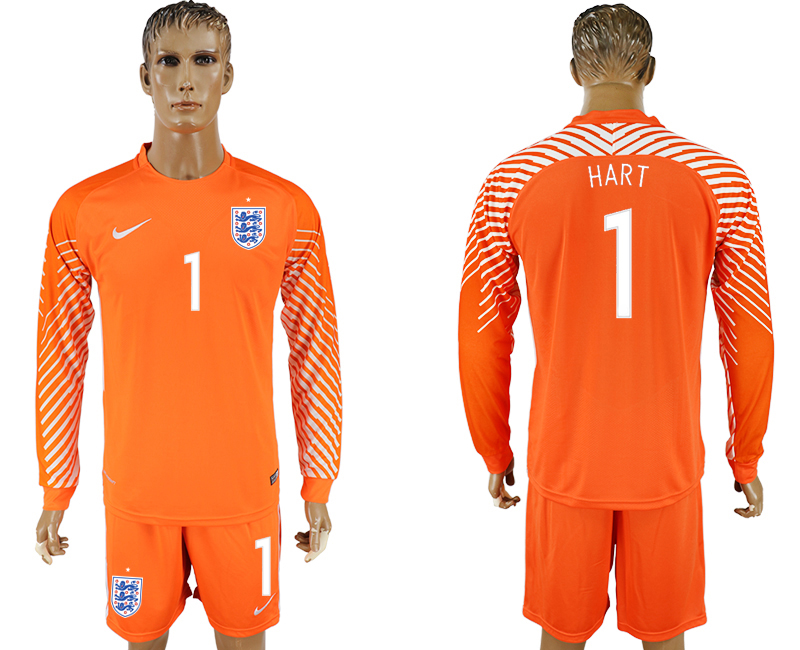 Men 2018 World Cup National England orenge goalkeeper long sleeve 1 soccer jersey