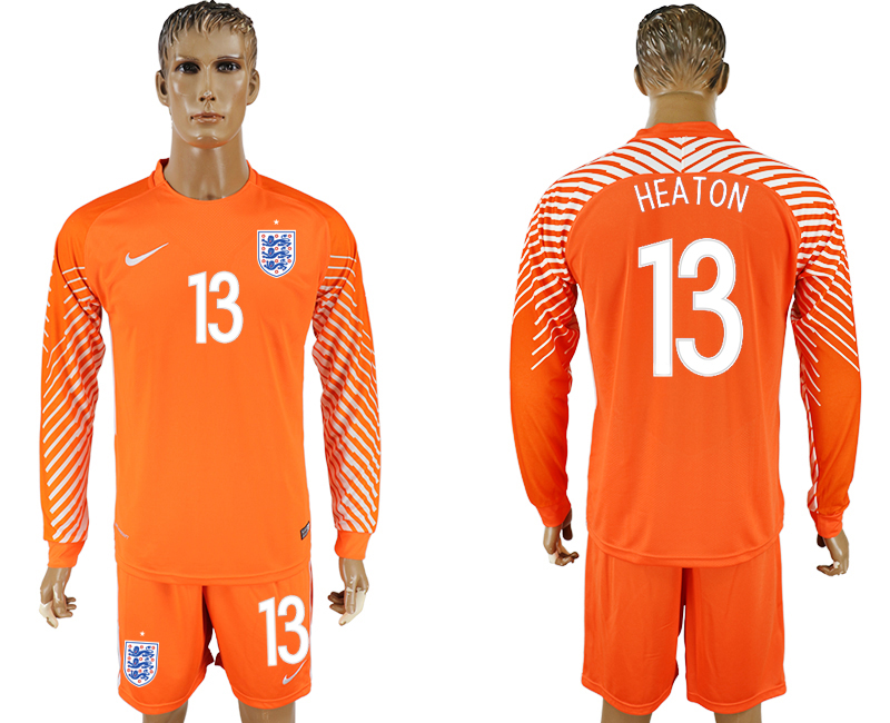 Men 2018 World Cup National England orenge goalkeeper long sleeve 13 soccer jersey