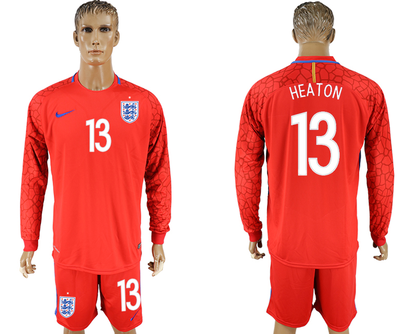 Men 2018 World Cup National England red goalkeeper long sleeve 13 soccer jersey
