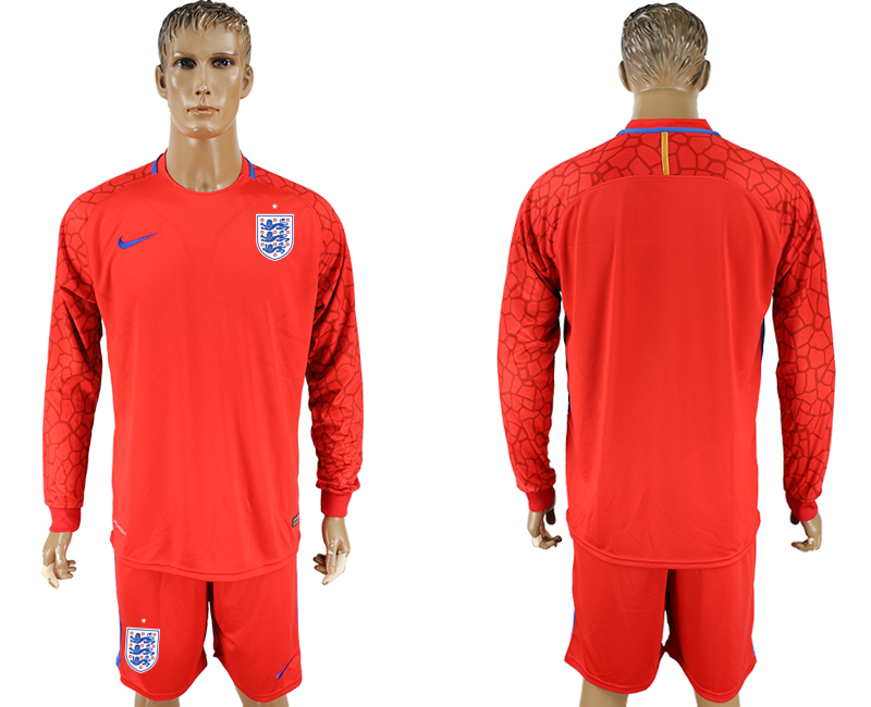 Men 2018 World Cup National England red goalkeeper long sleeve soccer jersey