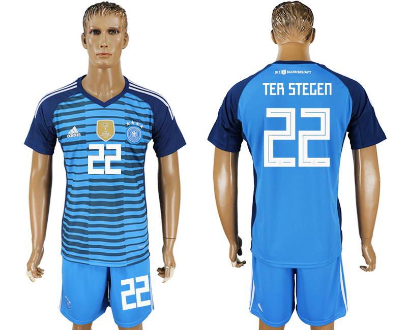 Men 2018 World Cup National Germany Lake blue goalkeeper 22 soccer jersey