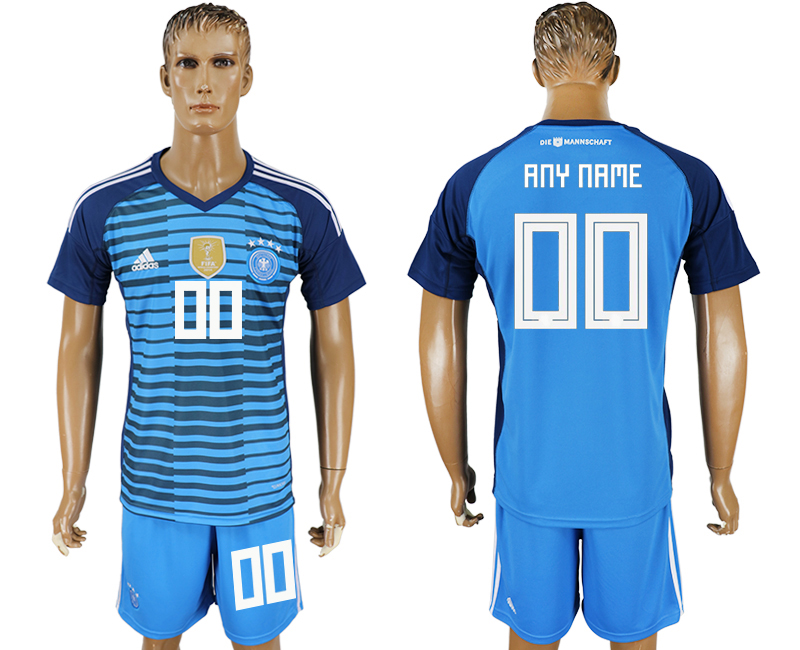 Men 2018 World Cup National Germany Lake blue goalkeeper customized soccer jersey