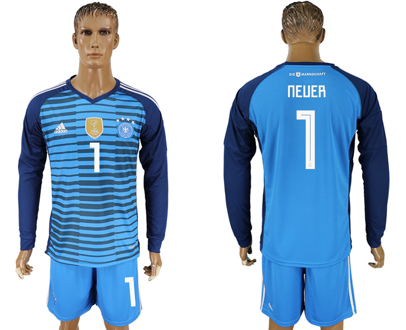 Men 2018 World Cup National Germany Lake blue goalkeeper long sleeve 1 soccer jersey