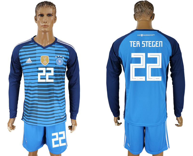 Men 2018 World Cup National Germany Lake blue goalkeeper long sleeve 22 soccer jersey
