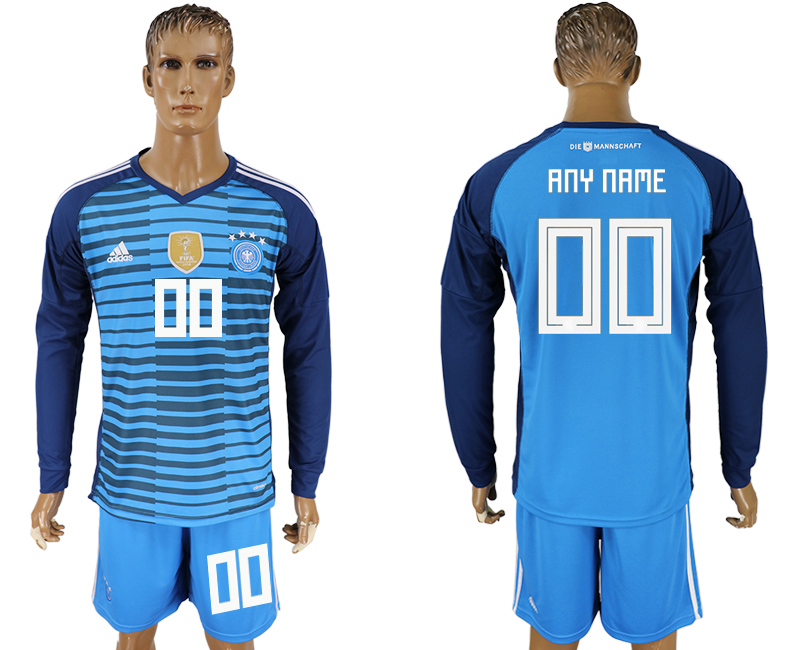 Men 2018 World Cup National Germany Lake blue goalkeeper long sleeve customized soccer jersey
