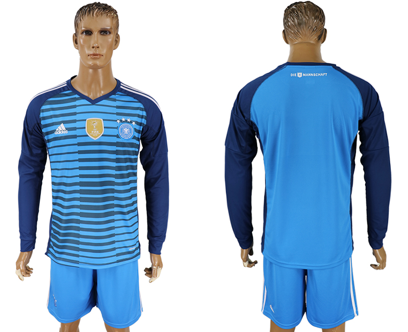 Men 2018 World Cup National Germany Lake blue goalkeeper long sleeve soccer jersey