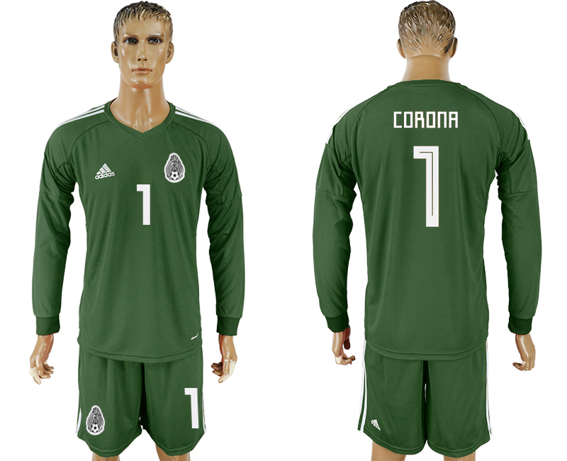 Men 2018 World Cup National Mexico Military green goalkeeper Long sleeve 1 soccer jersey