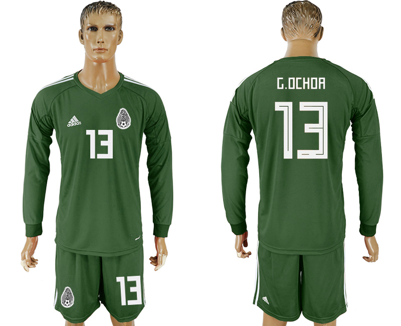 Men 2018 World Cup National Mexico Military green goalkeeper Long sleeve 13 soccer jersey