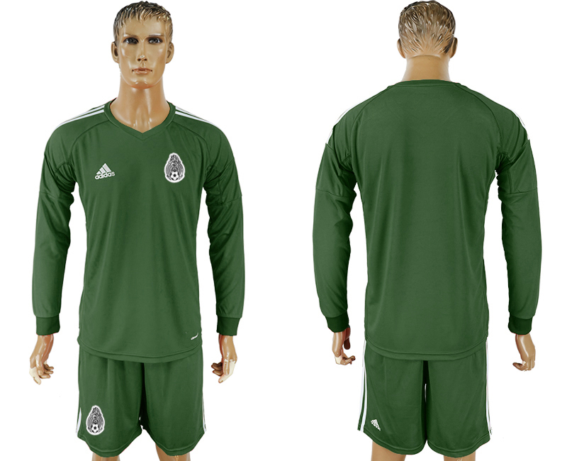 Men 2018 World Cup National Mexico Military green goalkeeper Long sleeve soccer jersey