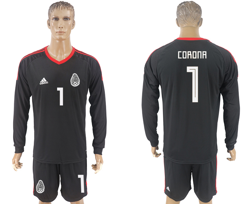 Men 2018 World Cup National Mexico black goalkeeper Long sleeve 1 soccer jersey