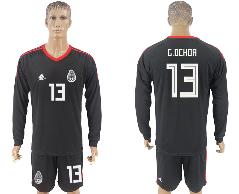 Men 2018 World Cup National Mexico black goalkeeper Long sleeve 13 soccer jersey