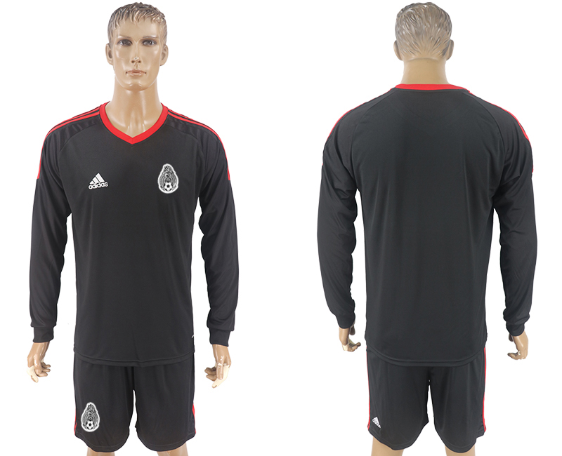 Men 2018 World Cup National Mexico black goalkeeper Long sleeve soccer jersey