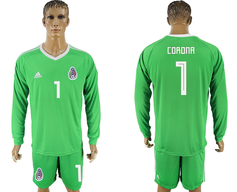 Men 2018 World Cup National Mexico green goalkeeper long sleeve 1 soccer jersey