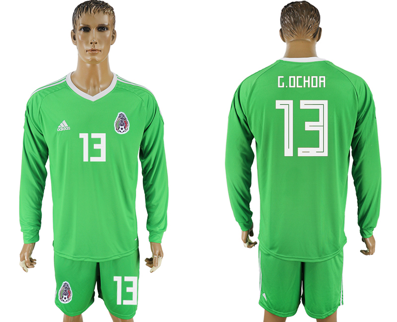 Men 2018 World Cup National Mexico green goalkeeper long sleeve 13 soccer jersey