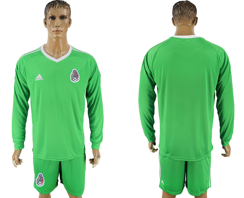 Men 2018 World Cup National Mexico green goalkeeper long sleeve soccer jersey