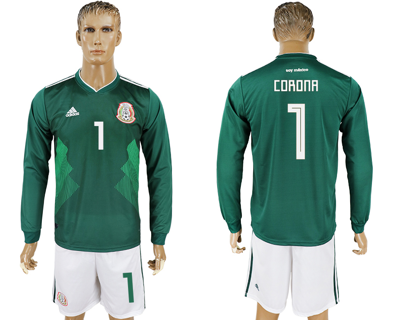 Men 2018 World Cup National Mexico home long sleeve 1 green soccer jersey