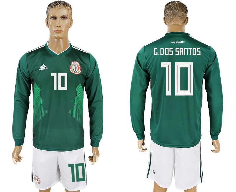 Men 2018 World Cup National Mexico home long sleeve 10 green soccer jersey
