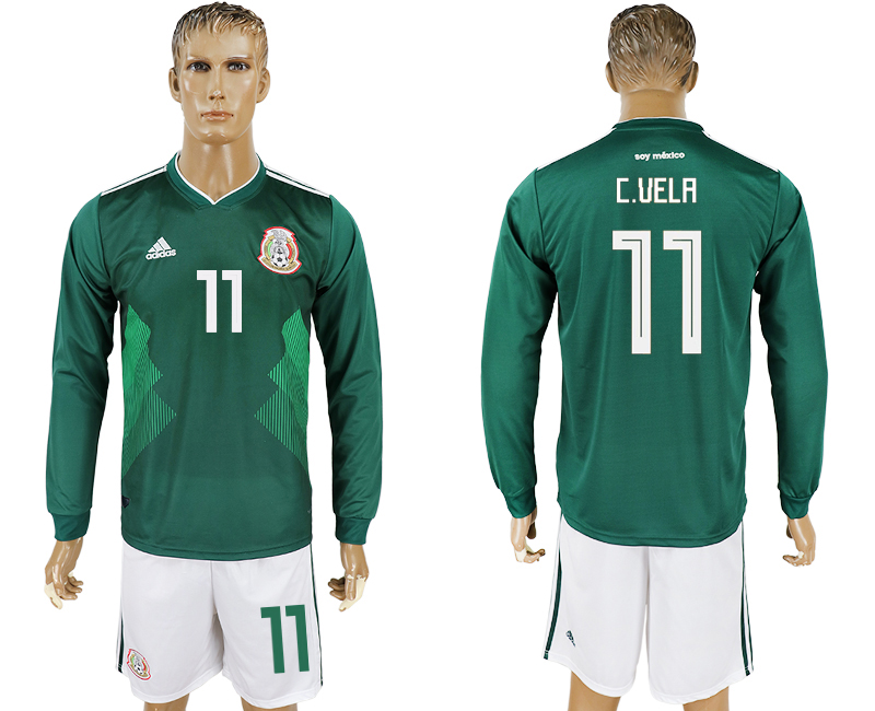Men 2018 World Cup National Mexico home long sleeve 11 green soccer jersey
