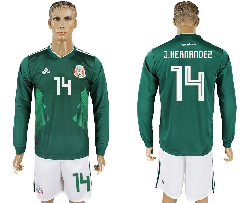 Men 2018 World Cup National Mexico home long sleeve 14 green soccer jersey