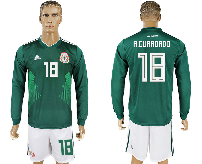 Men 2018 World Cup National Mexico home long sleeve 18 green soccer jersey