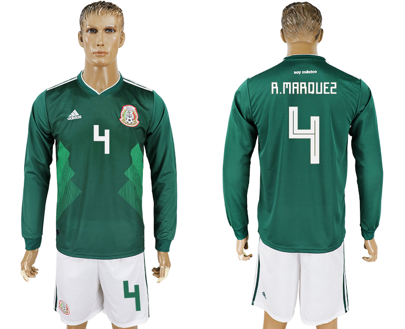 Men 2018 World Cup National Mexico home long sleeve 4 green soccer jersey