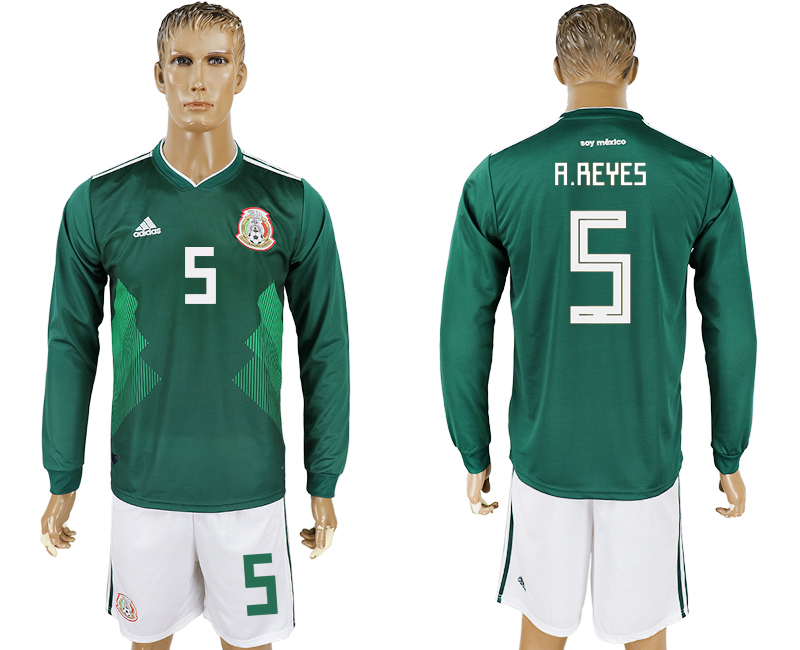 Men 2018 World Cup National Mexico home long sleeve 5 green soccer jersey