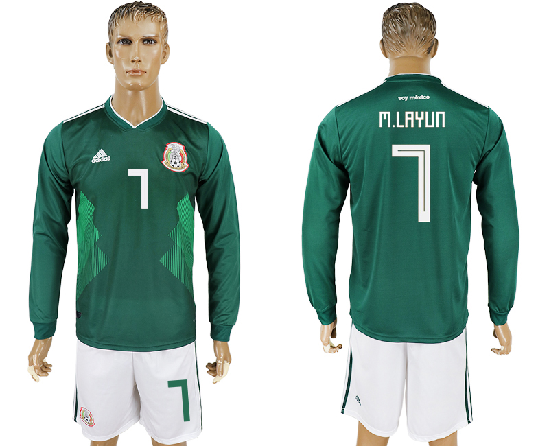 Men 2018 World Cup National Mexico home long sleeve 7 green soccer jersey