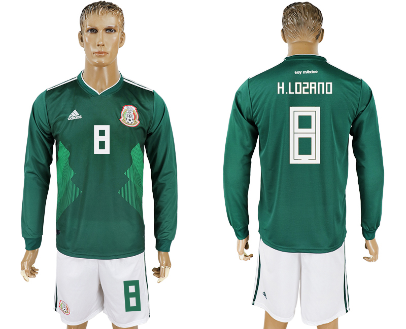 Men 2018 World Cup National Mexico home long sleeve 8 green soccer jersey
