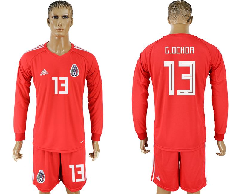 Men 2018 World Cup National Mexico red goalkeeper long sleeve 13 soccer jersey