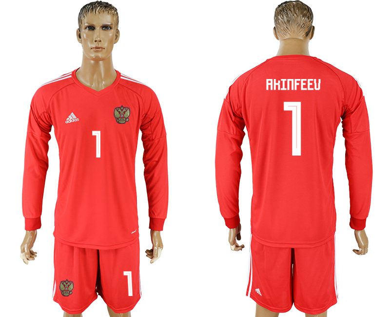 Men 2018 World Cup National Russia red goalkeeper long sleeve 1 soccer jersey