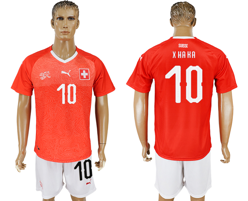 Men 2018 World Cup National Switzerland home 10 red soccer jersey