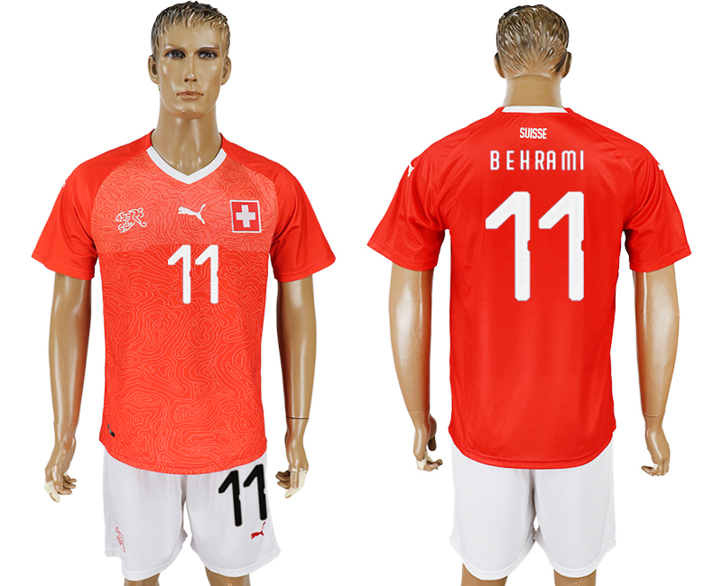 Men 2018 World Cup National Switzerland home 11 red soccer jersey