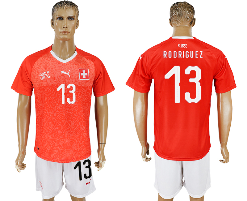Men 2018 World Cup National Switzerland home 13 red soccer jersey