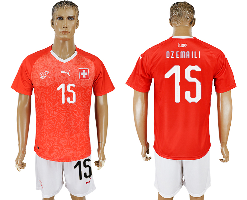 Men 2018 World Cup National Switzerland home 15 red soccer jersey