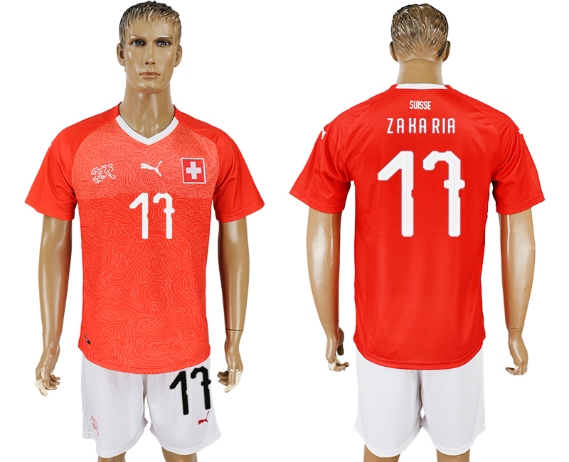 Men 2018 World Cup National Switzerland home 17 red soccer jersey