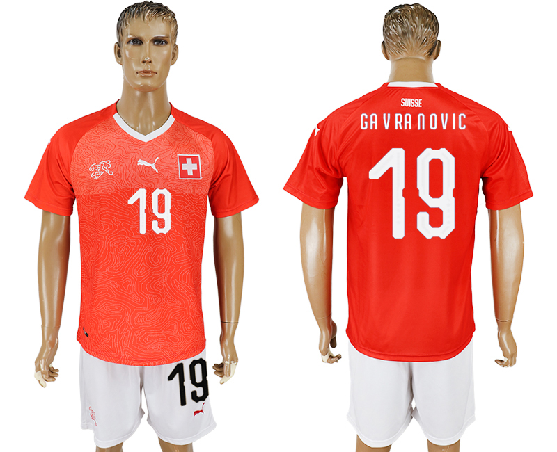 Men 2018 World Cup National Switzerland home 19 red soccer jersey