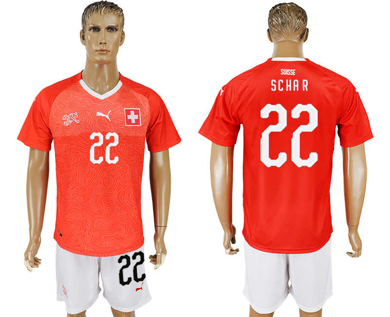 Men 2018 World Cup National Switzerland home 22 red soccer jersey