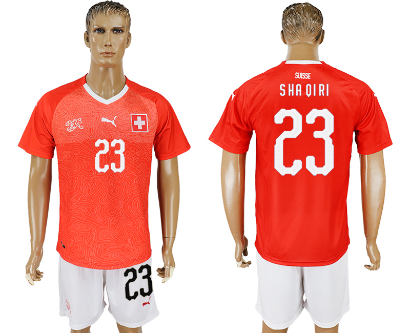 Men 2018 World Cup National Switzerland home 23 red soccer jersey
