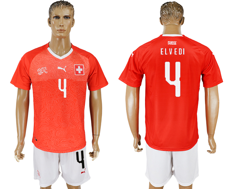 Men 2018 World Cup National Switzerland home 4 red soccer jersey