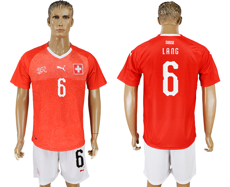 Men 2018 World Cup National Switzerland home 6 red soccer jersey