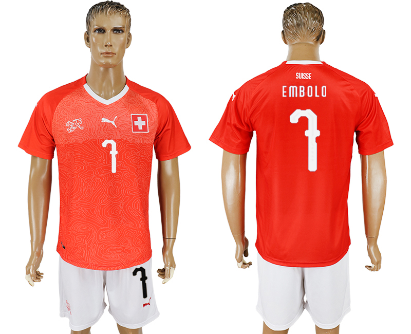Men 2018 World Cup National Switzerland home 7 red soccer jersey