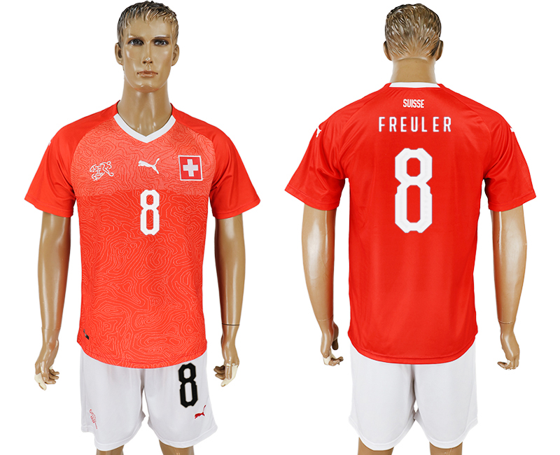 Men 2018 World Cup National Switzerland home 8 red soccer jersey